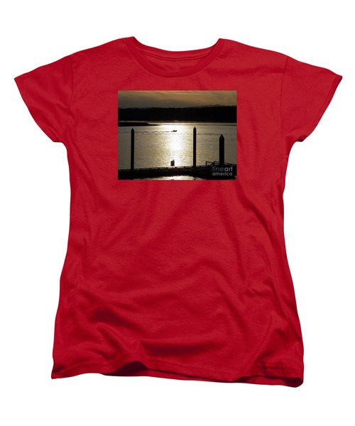 Women's T-Shirt (Standard Cut) featuring the photograph A Lone Boat At Sunset by Chalet Roome-Rigdon
