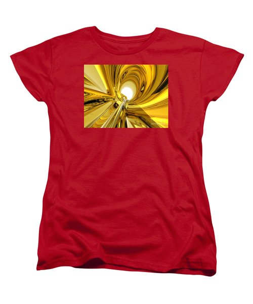 Women's T-Shirt (Standard Cut) featuring the digital art Abstract Gold Rings by Phil Perkins