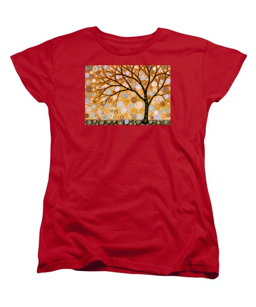 Women's T-Shirt (Standard Cut) featuring the painting Abstract Modern Tree Landscape Dreams Of Gold By Amy Giacomelli by Amy Giacomelli