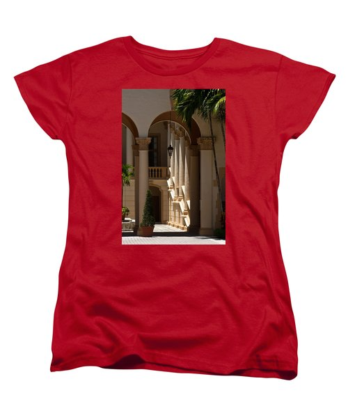 Women's T-Shirt (Standard Cut) featuring the photograph Arches And Columns At The Biltmore Hotel by Ed Gleichman