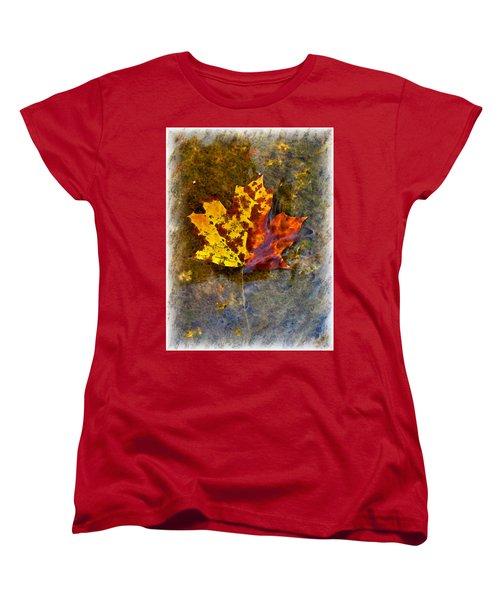 Women's T-Shirt (Standard Cut) featuring the digital art Autumn Maple Leaf In Water by Debbie Portwood