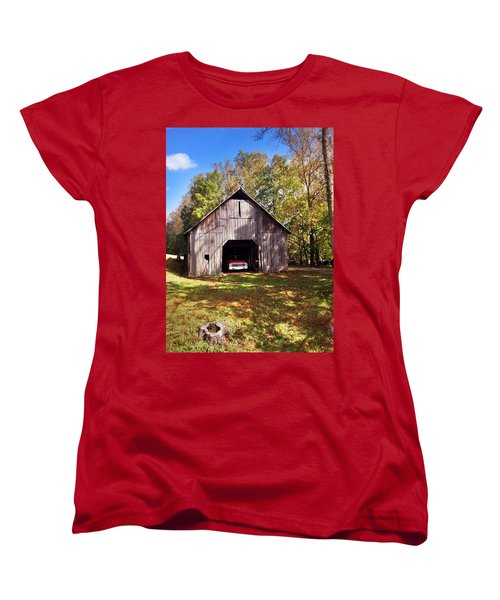 Women's T-Shirt (Standard Cut) featuring the photograph Barn An Chevy by Janice Spivey