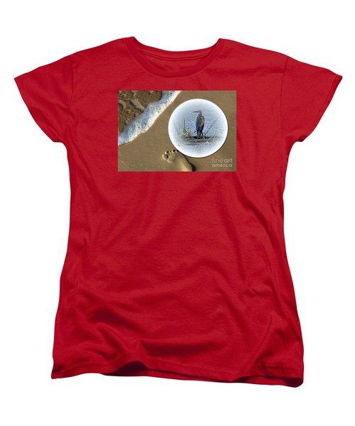 Beached Heron Women's T-Shirt (Standard Cut) by Sue Stefanowicz