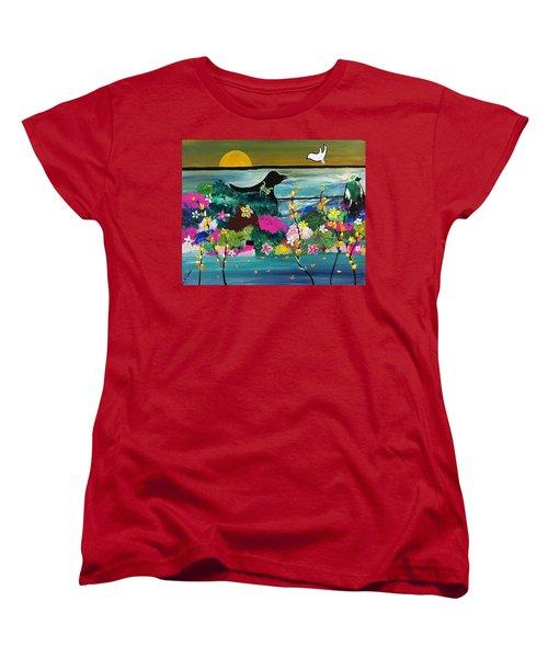 Black Birds Women's T-Shirt (Standard Cut) by Kelly Turner