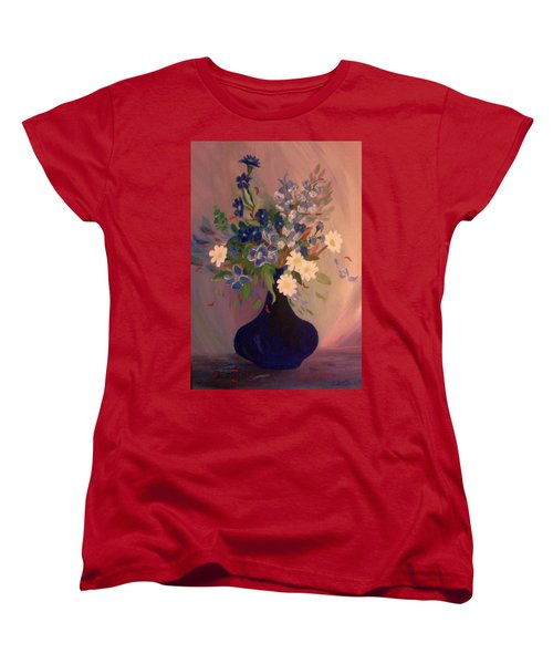 Women's T-Shirt (Standard Cut) featuring the painting Blue Flowers 2 by Christy Saunders Church