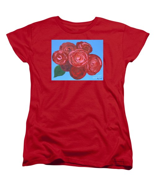 Women's T-Shirt (Standard Cut) featuring the painting Bouquet Of Roses by Alys Caviness-Gober