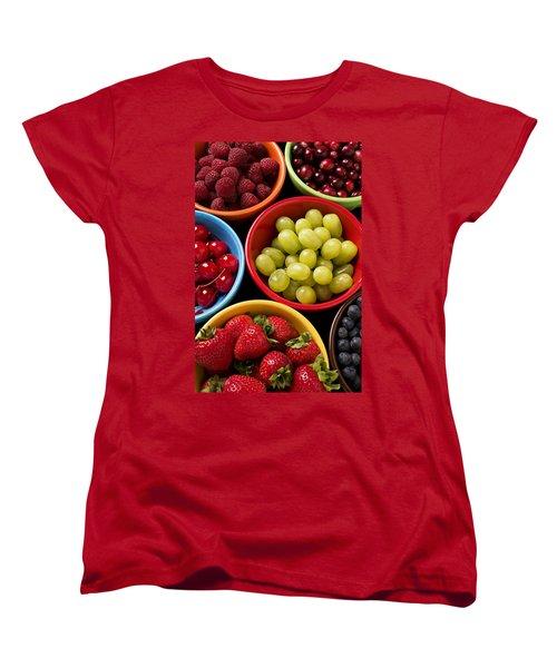 Bowls Of Fruit Women's T-Shirt (Standard Cut) by Garry Gay