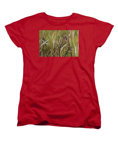 Women's T-Shirt (Standard Cut) featuring the photograph Butterfly In Flight by Fotosas Photography