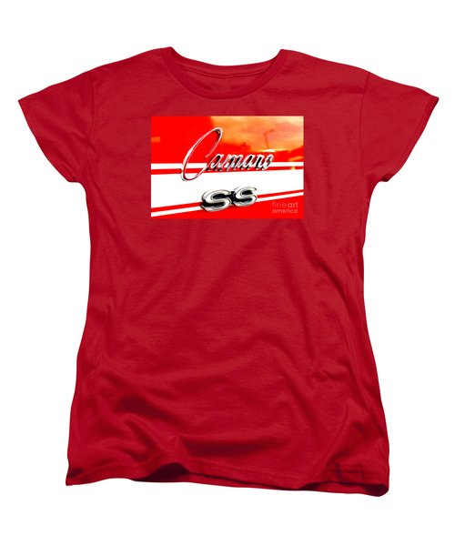 Women's T-Shirt (Standard Cut) featuring the digital art Camaro Ss Flank by Tony Cooper