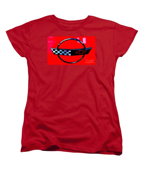 Women's T-Shirt (Standard Cut) featuring the digital art Chevrolet Corvette by Tony Cooper