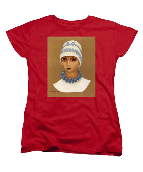 Colorful Young Woman Brown Eyes Blue White Hat Collar  With Ribbon Small Lips Women's T-Shirt (Standard Cut) by Rachel Hershkovitz