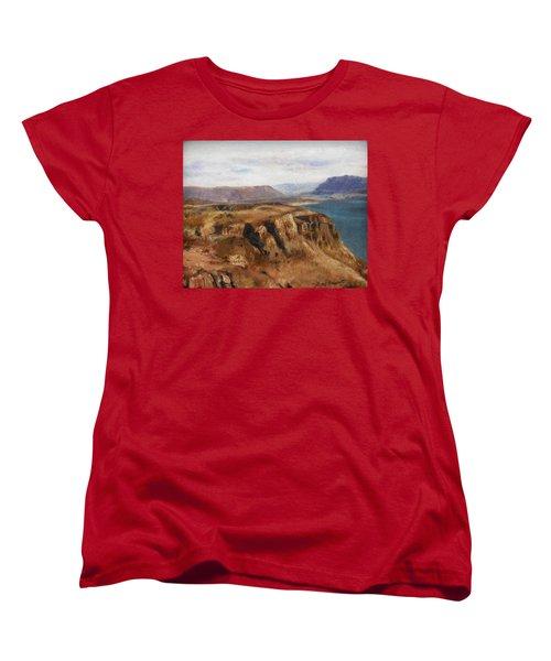 Women's T-Shirt (Standard Cut) featuring the painting Columbia River Gorge I by Lori Brackett