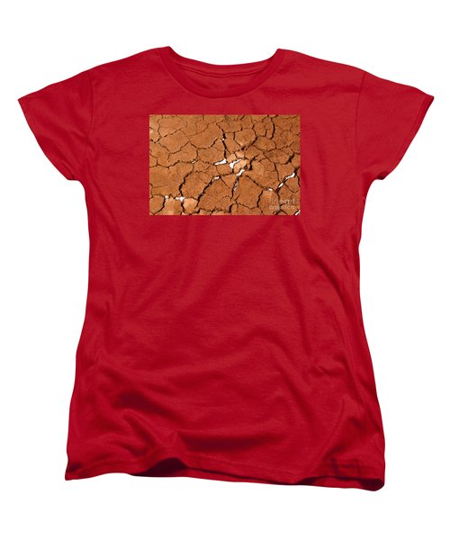 Women's T-Shirt (Standard Cut) featuring the photograph Cracked Red Soil  by Les Palenik
