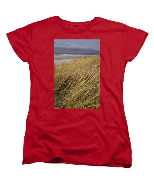 Dune Grass On The Oregon Coast Women's T-Shirt (Standard Cut) by Mick Anderson