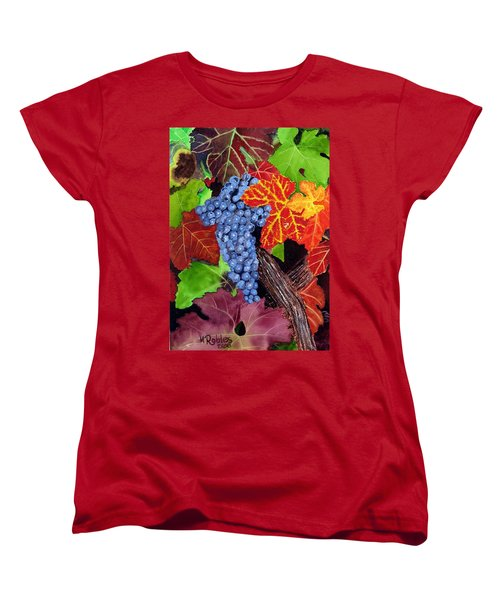 Fall Cabernet Sauvignon Grapes Women's T-Shirt (Standard Cut) by Mike Robles