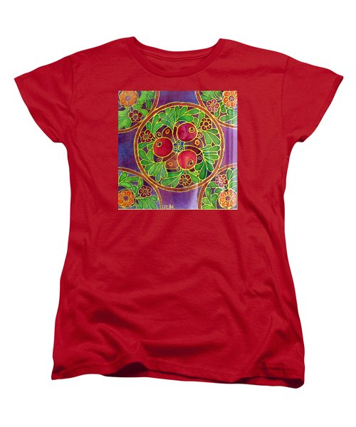Festive Pomegranates In Gold And Vivid Colors Wall Decor In Red Green Purple Branch Leaves Flowers Women's T-Shirt (Standard Cut) by Rachel Hershkovitz