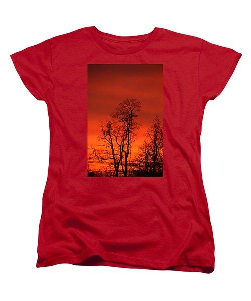 Fire Sky Women's T-Shirt (Standard Cut) by Bonnie Myszka