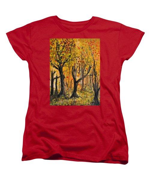 Women's T-Shirt (Standard Cut) featuring the painting Foliage by Evelina Popilian