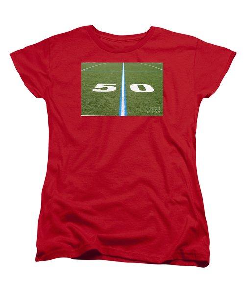 Football Field Fifty Women's T-Shirt (Standard Cut) by Henrik Lehnerer