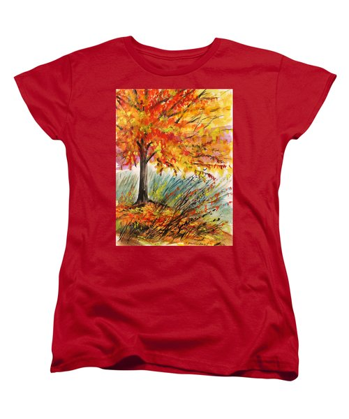 Women's T-Shirt (Standard Cut) featuring the painting Gold On A Blue Day by John Williams