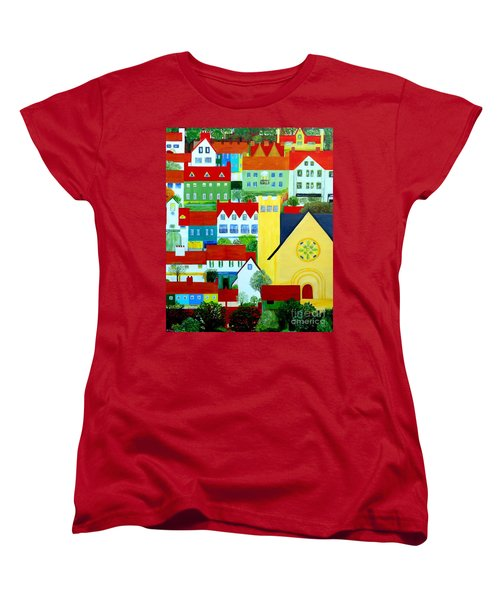 Women's T-Shirt (Standard Cut) featuring the painting Hillside Village by Barbara Moignard