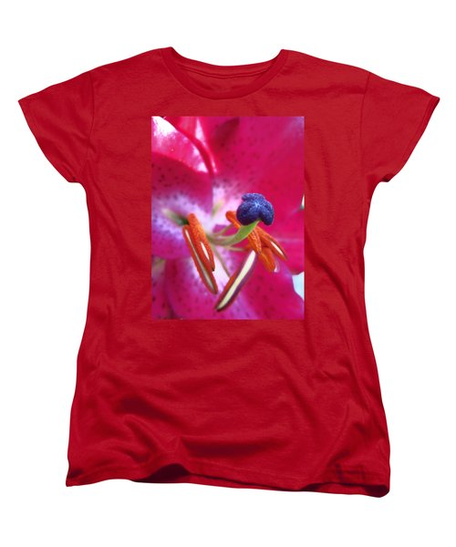 Hot Pink Lilly Up Close Women's T-Shirt (Standard Cut) by Kym Backland