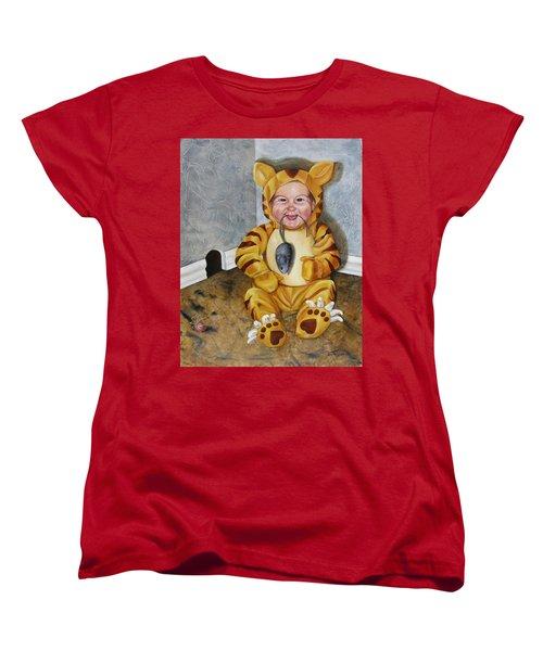 Women's T-Shirt (Standard Cut) featuring the painting James-a-cat by Lori Brackett