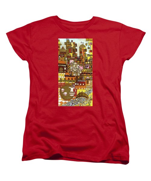 Jerusalem Alleys Tall 5  In Red Yellow Brown Orange Green And White Abstract Skyline Landscape   Women's T-Shirt (Standard Cut) by Rachel Hershkovitz