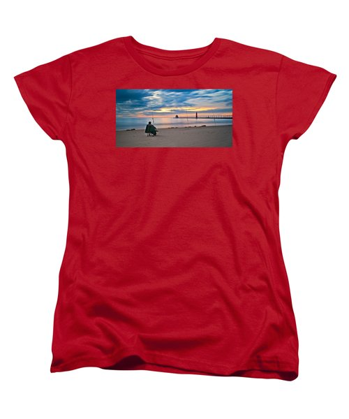 Lake Michigan Fishing Women's T-Shirt (Standard Cut) by Larry Carr