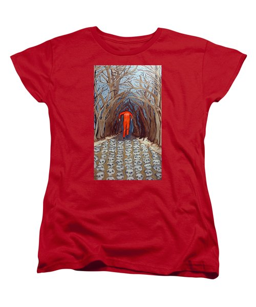 Women's T-Shirt (Standard Cut) featuring the painting Leaving Eden by Lisa Brandel