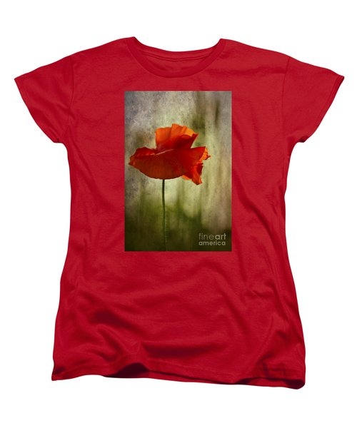 Women's T-Shirt (Standard Cut) featuring the photograph Moody Poppy. by Clare Bambers - Bambers Images