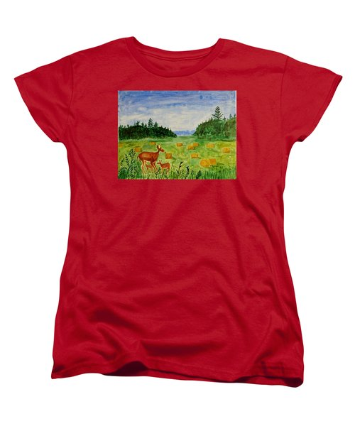 Women's T-Shirt (Standard Cut) featuring the painting Mother Deer And Kids by Sonali Gangane