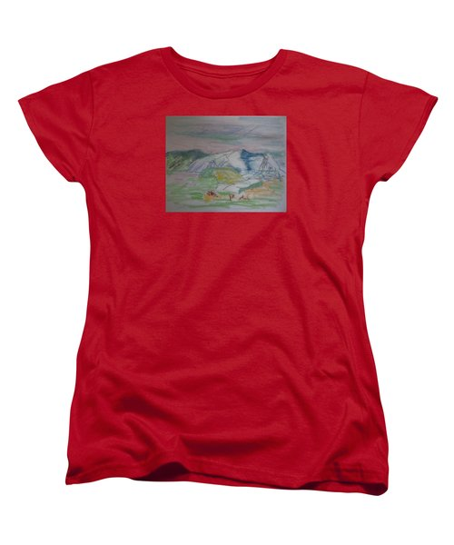 Women's T-Shirt (Standard Cut) featuring the painting Mount Desert Back Side by Francine Frank