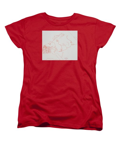 Nude Resting In Red Women's T-Shirt (Standard Cut) by Rand Swift