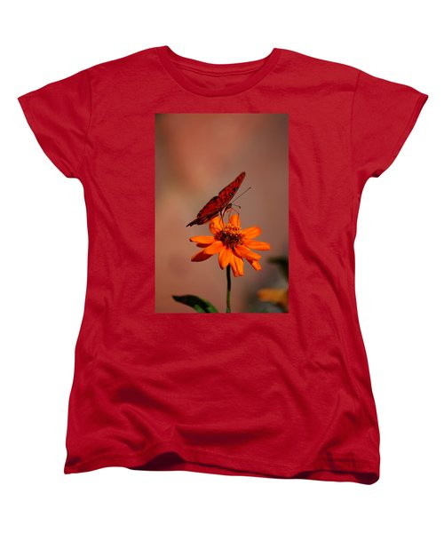 Orange Butterfly Orange Flower Women's T-Shirt (Standard Cut) by Lori Tambakis