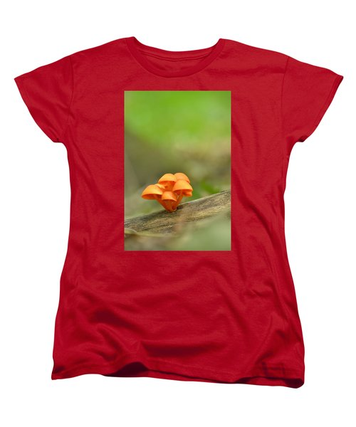 Women's T-Shirt (Standard Cut) featuring the photograph Orange Mushrooms by JD Grimes