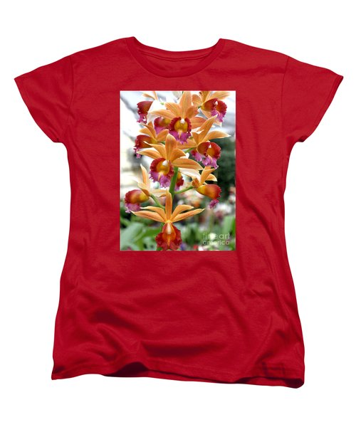 Women's T-Shirt (Standard Cut) featuring the photograph Orange Orchids by Debbie Hart