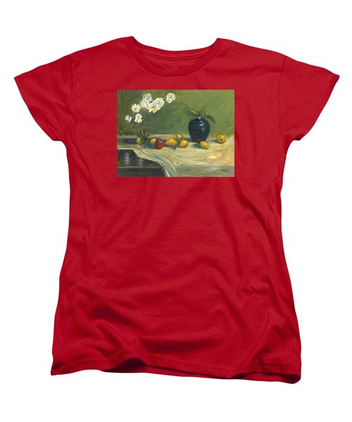 Women's T-Shirt (Standard Cut) featuring the painting Orchids And Vase by Marlyn Boyd