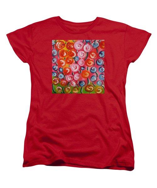 Original Modern Impasto Flowers Painting  Women's T-Shirt (Standard Cut) by Gioia Albano
