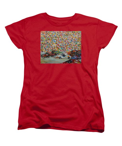 Women's T-Shirt (Standard Cut) featuring the painting Race Day by Judith Rhue