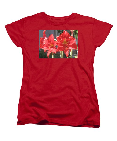 Women's T-Shirt (Standard Cut) featuring the photograph Red Amaryllis by Kume Bryant