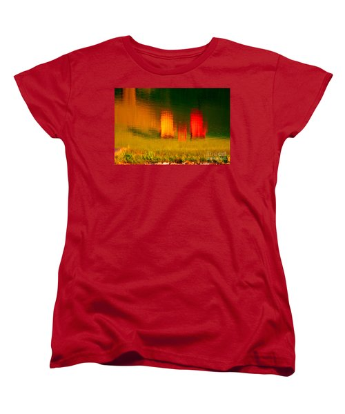 Women's T-Shirt (Standard Cut) featuring the photograph Red And Orange Chairs by Les Palenik