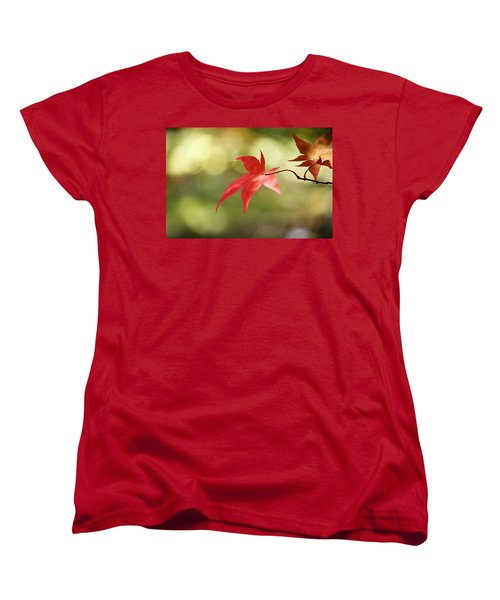 Women's T-Shirt (Standard Cut) featuring the photograph Red Leaf. by Clare Bambers