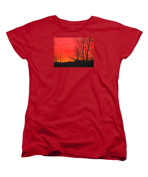 Red Sky  Women's T-Shirt (Standard Cut) by Dan Whittemore