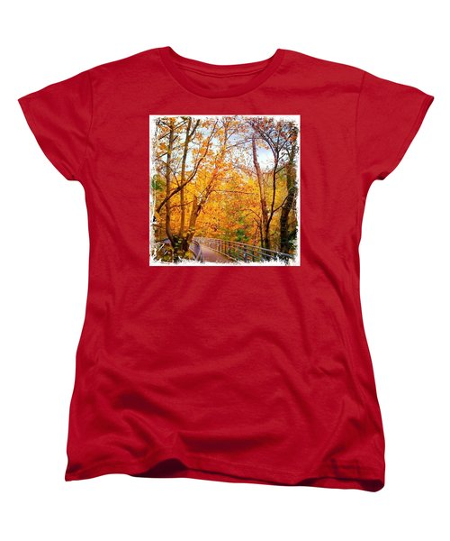 Reed College Canyon Bridge To Campus Women's T-Shirt (Standard Cut) by Anna Porter