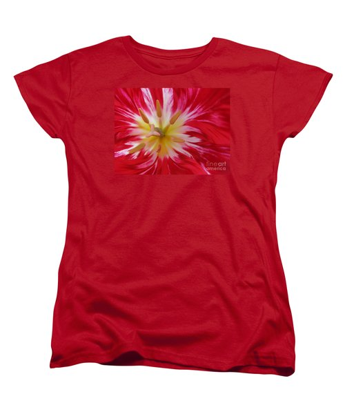 Striped Flaming Tulips. Hot Pink Rio Carnival Women's T-Shirt (Standard Cut) by Ausra Huntington nee Paulauskaite