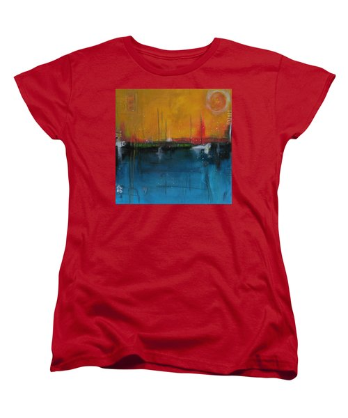 Women's T-Shirt (Standard Cut) featuring the painting Sunset At The Lake  # 1 by Nicole Nadeau