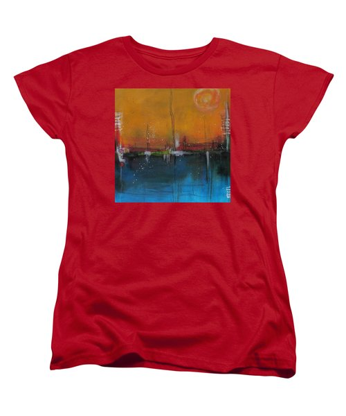 Women's T-Shirt (Standard Cut) featuring the painting Sunset At The Lake # 2 by Nicole Nadeau