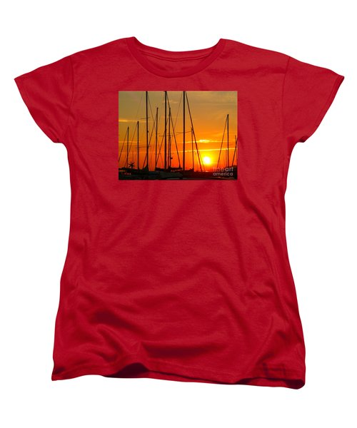 Women's T-Shirt (Standard Cut) featuring the mixed media Sunset In A Harbour Digital Photo Painting by Rogerio Mariani