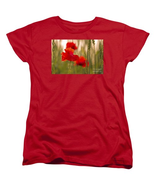 Women's T-Shirt (Standard Cut) featuring the photograph Sunset Poppies. by Clare Bambers